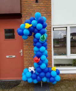 ballonnen cijfer 1 op frame
