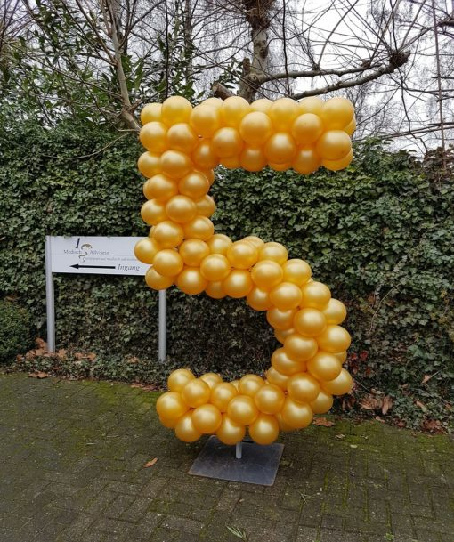 ballonnen cijfer 5 op frame