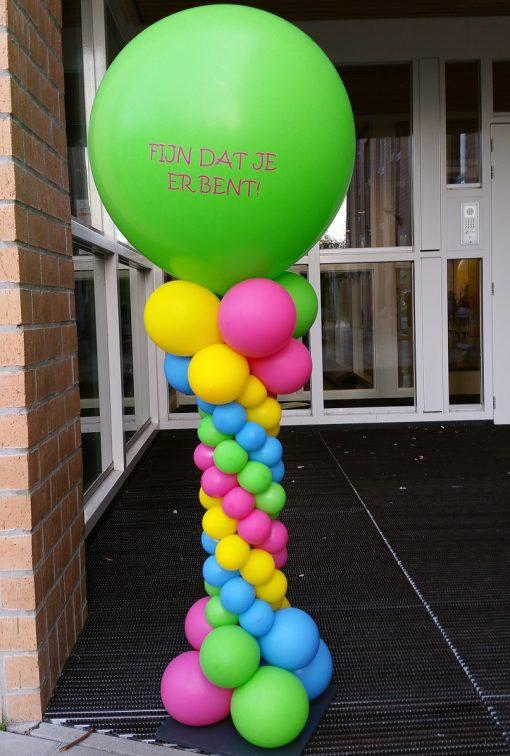 Spiraalpilaar met bedrukte topballon