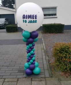 Ballonpilaar met bedrukte topballon