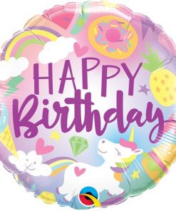 Folie ballon unicorn happy birthday