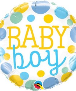 Folie ballon Baby Boy dots