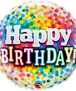 Folieballon Happy Birthday Confetti